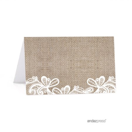 Burlap Lace Wedding able Table Tent Place Cards, 20-Pack