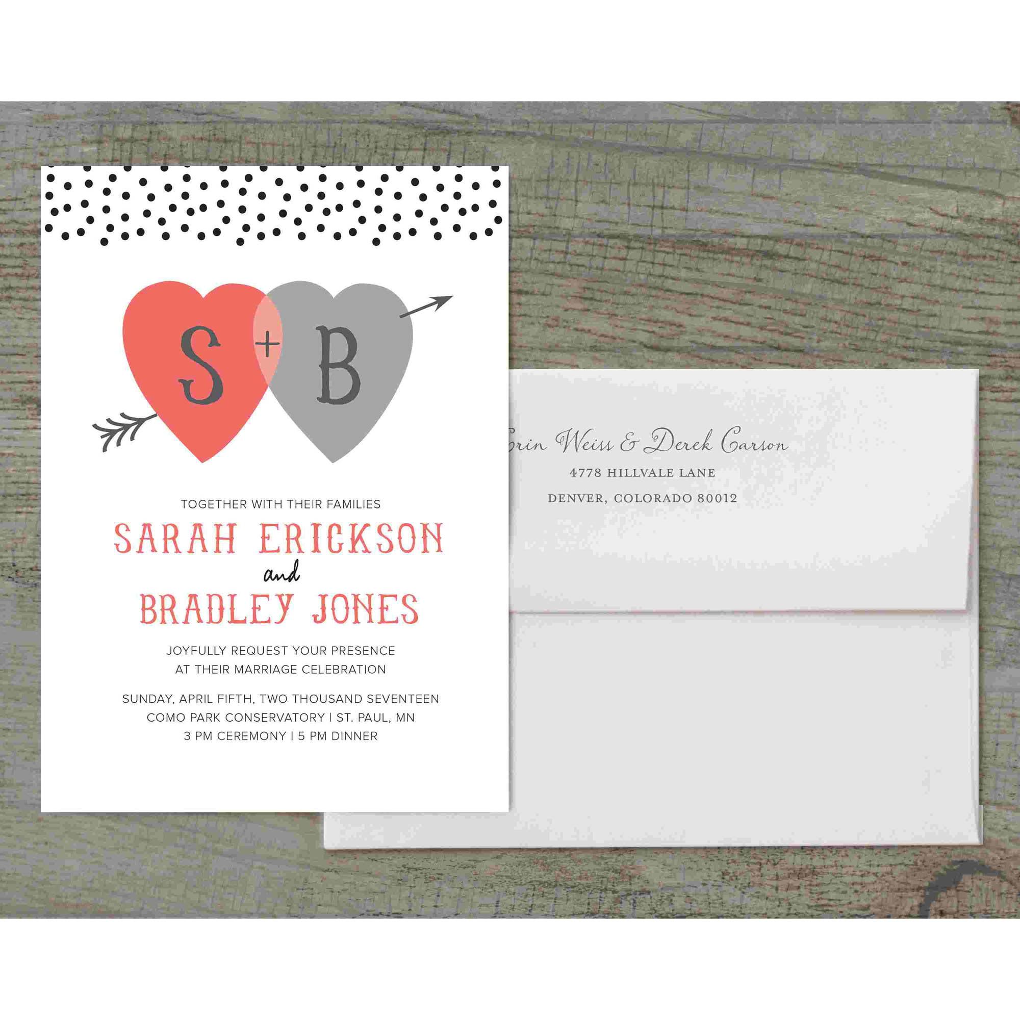 Heart and Arrow Deluxe Wedding Invitation