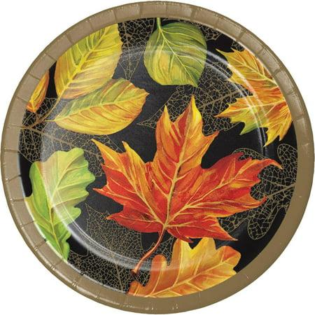 Club Pack of 96 Orange and Black Elegant Fall Decorative Dinner Plate 8.875
