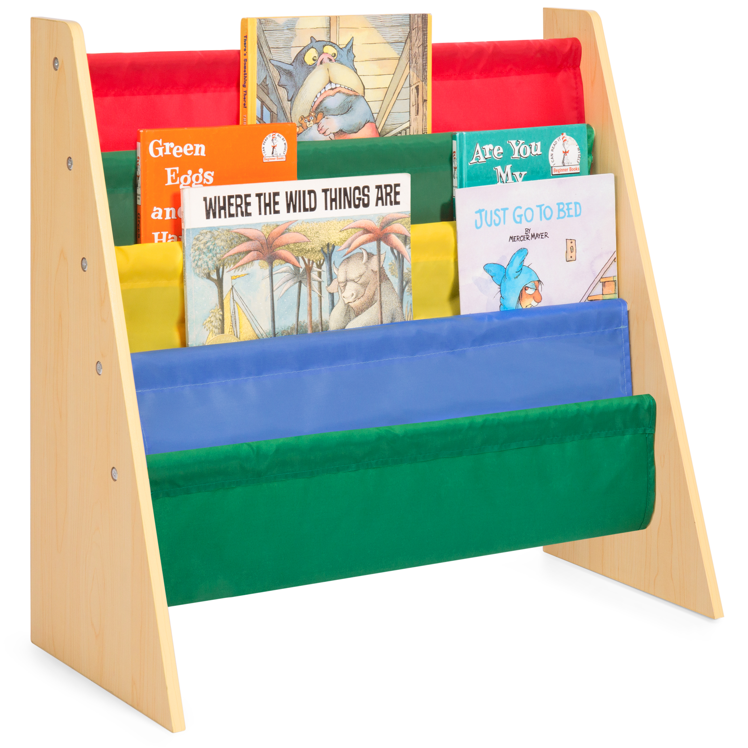 Best Choice Products Kids Bookshelf Toy Storage Rack w/ Fabric Sleeves - Multicolor