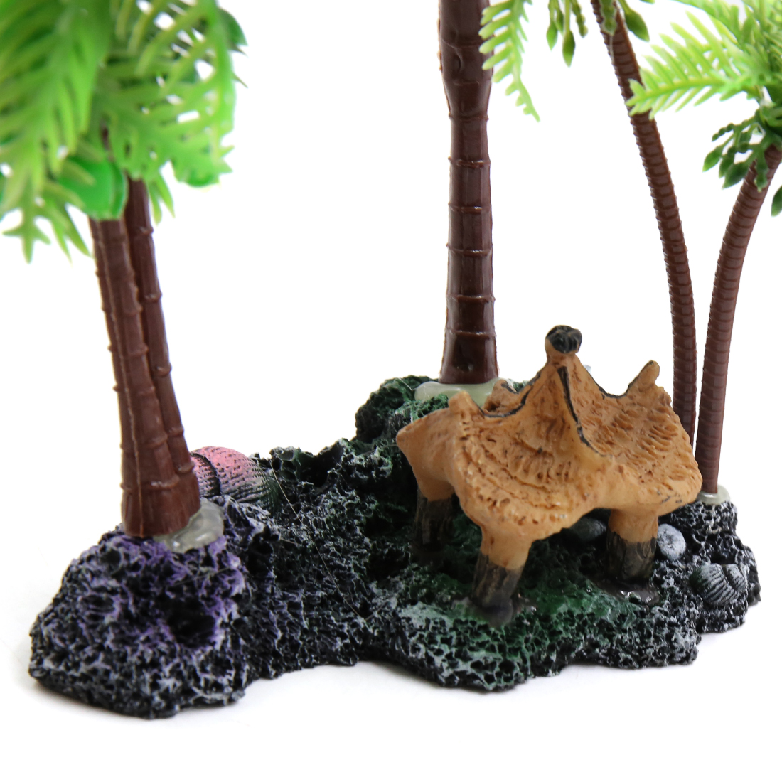 Green Plastic Coconut Tree Aquarium Aquascape Plant Decoration w/ Resin Base - image 2 of 4