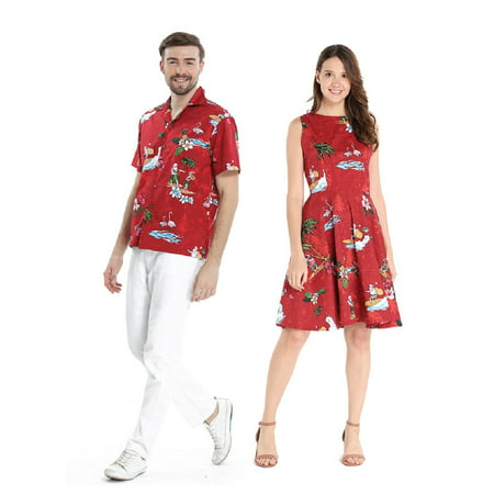 b3061982a75 Hawaii Hangover - Couple Matching Hawaiian Luau Cruise Outfit Shirt Vintage Dress  Christmas Santa in Hawaii Red Men XL Women M - Walmart.com