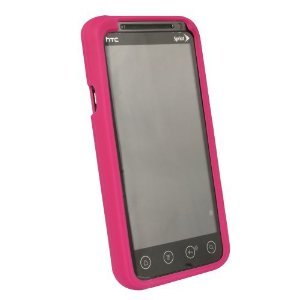 Sprint Branded HTC Evo 3D Protective Cover Silicone Rubber Gel Skin Case - Raspberry Pink (Sprint Htc Evo 3d Phone Covers)