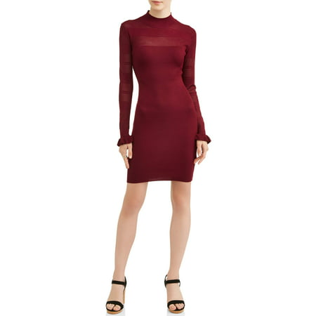 Almost Famous Juniors' Mock Neck Pointelle Mixed Rib Dress