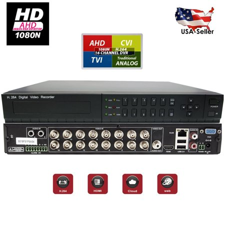 Evertech 16 Channel Digital Video Recorder HD h264 4in1 AHD/CVI/ TVI Analog Security Camera DVR ( No Hard Drive for Recording )