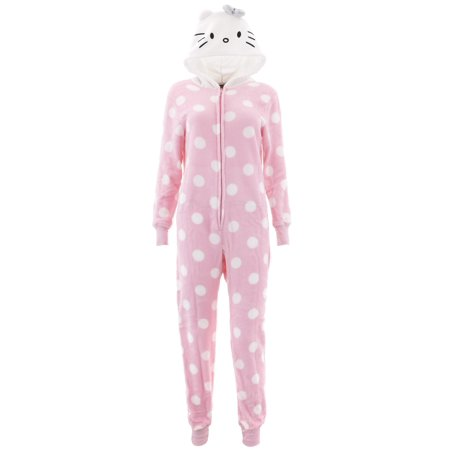 Hello Kitty Women's Pink Hooded One-Piece Pajamas (Hello Kitty For Adults)