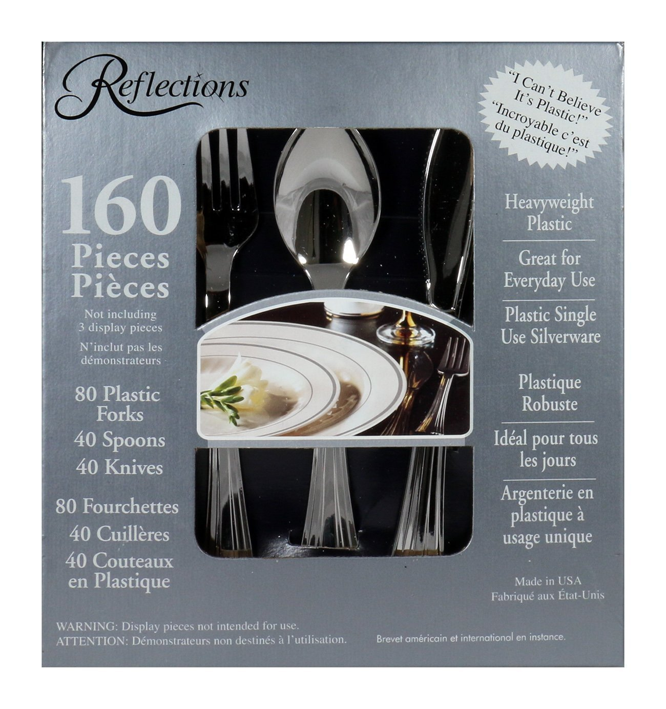 160-Piece Plastic Silverware, 80 plastic forks By Reflections by
