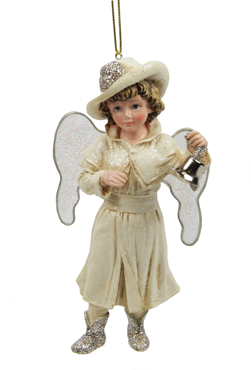 "5.5"" Vintage-Style Winter Angel with Hat and Bell Christmas Figure Ornament"