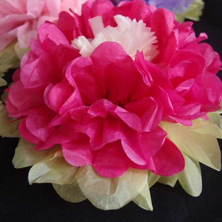 """Quasimoon 14"""" Multi-Color Tissue Paper Flower Decorations (Fuchsia / Hot Pink Combo, 3 PACK) by PaperLanternStore"""