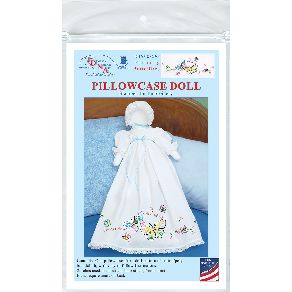 Stamped White Pillowcase Doll Kit-Fluttering Butterflies Multi-Colored