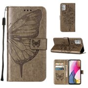 Moto G Stylus 2021 Wallet Case, Embossed Butterfly PU Leather Credit Card Holder Slots Full Body Protection Kickstand Flip Folio Shockproof TPU Phone Cover for Motorola Moto G Stylus 2021, Gray