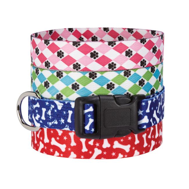 Casual Canine ZA1547 18 77 CC Pooch Patterns Collar 18-26 In Pink Argyle - image 1 of 1
