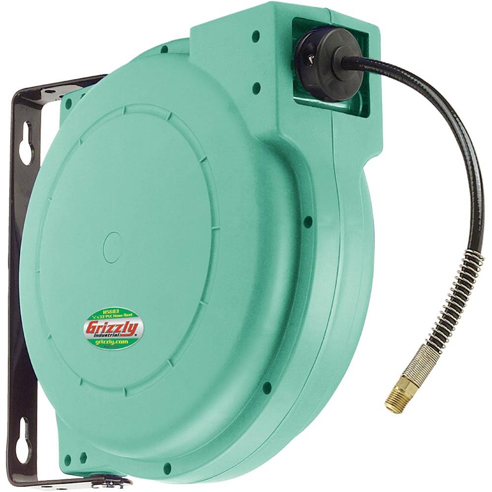 "Grizzly H5683 Hose Reel 1/4"" x 33' PVC Casing"