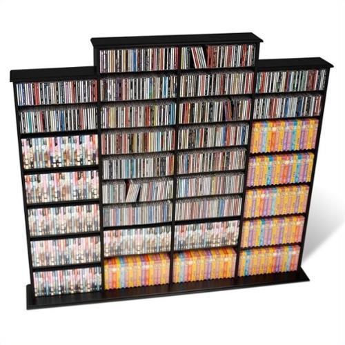 "Prepac Quad 64"" CD DVD Wall Media Storage Rack in Black"
