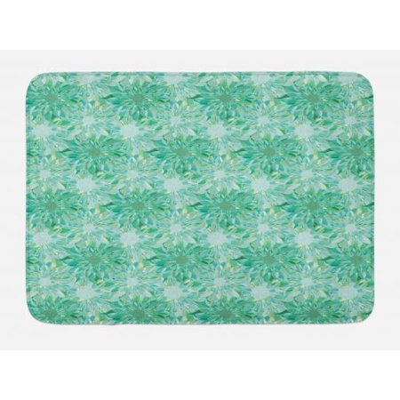 Turquoise Bath Mat, Floral Pattern With Beryl Crystal Guilloche Flowers Carving Art Elements Image Print, Non-Slip Plush Mat Bathroom Kitchen Laundry Room Decor, 29.5 X 17.5 Inches, Green, Ambesonne