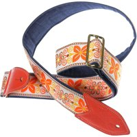 Jodi Head VERNA #32 Denim Slider Guitar Strap Orange Brown Floral 2 in.