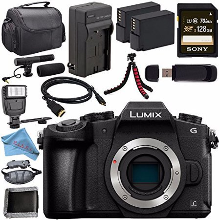 Panasonic Lumix DMC-G85 DMC-G85KBODY Mirrorless Micro Four Thirds Digital Camera (Body Only) + Battery + Charger + Sony 128GB SDXC Card + HDMI Cable + Case + Card Wallet + Tripod + Flash