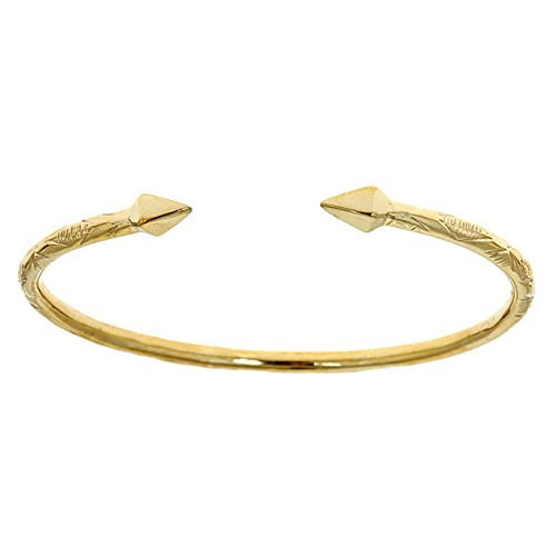 10K Yellow Gold West Indian Bangle w. Pyramid Ends