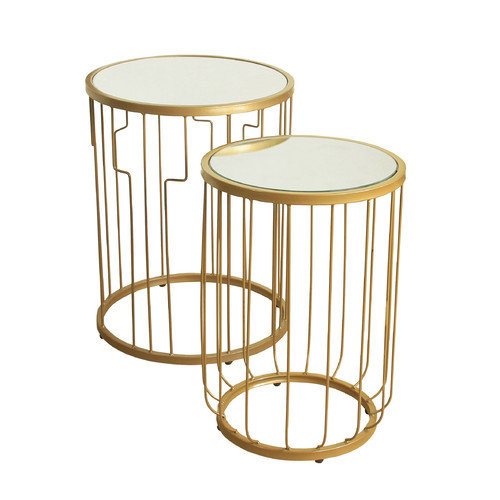 HomePop Metal Accent Table Gold Base Glass Top (Set of 2) by Kinfine USA Inc