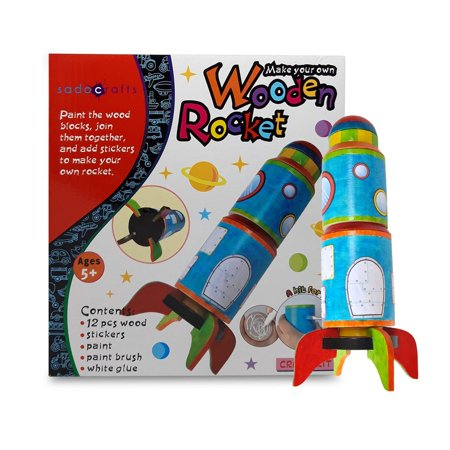 SadoCrafts Paint Your Own Rocket - Fun and Interactive DIY Educational Wood Craft Kit for Kids ()
