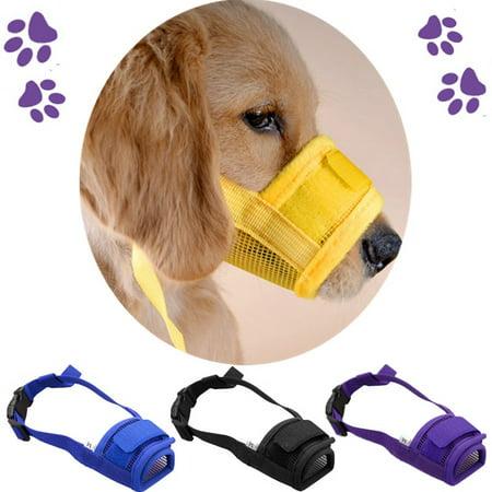 Pet Dog Mesh Mouth Muzzle Mask Nylon No Bark Bite Chewing Adjustable S-XL Size Dog Collars & -