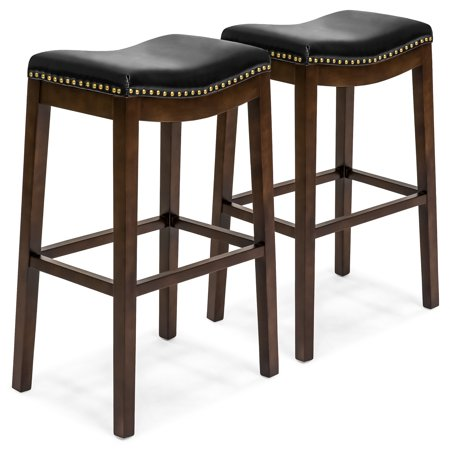 Best Choice Products Set of 2 31in Backless Counter Stool w/ Faux Leather Upholstery, Brass Nailhead Trim - Black