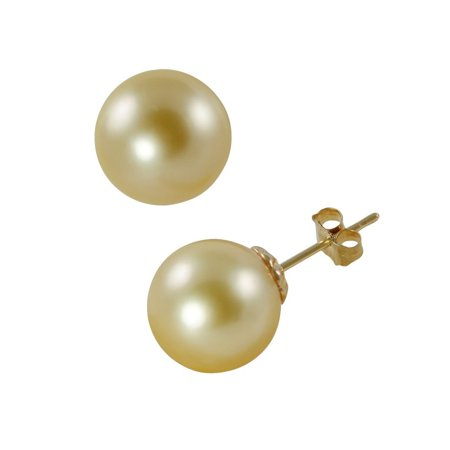 14k Gold 8MM Womens Yellow Pearl earrings 14k Gold Onyx Cufflinks