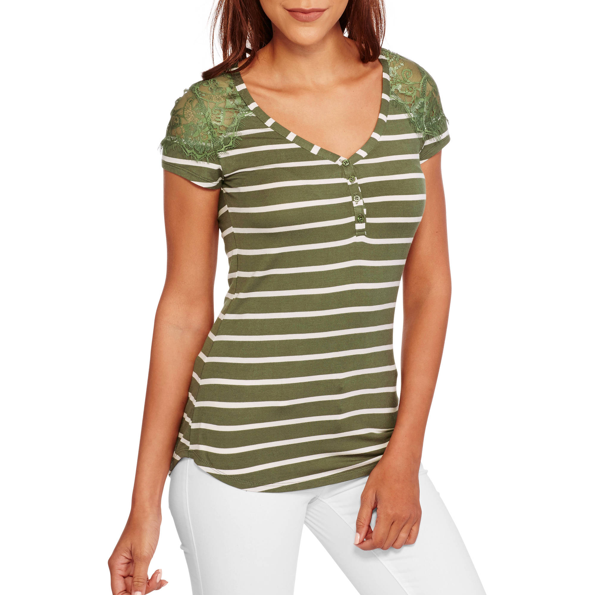 Juniors' Lace Panel Short Sleeve Henley Tee
