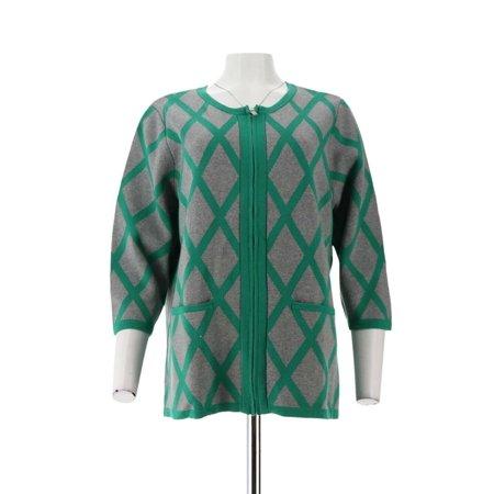 Liz Claiborne NY Windowpane Sweater Jacket Pocket A261245