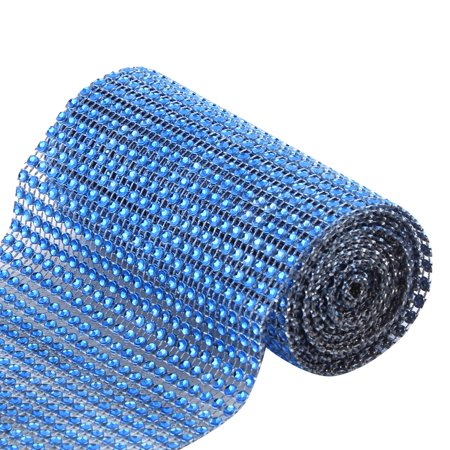 Household Shop Plastic Glass Table Chair Decor Mesh Diamond Ribbon Blue 2 - Yard Glasses For Sale
