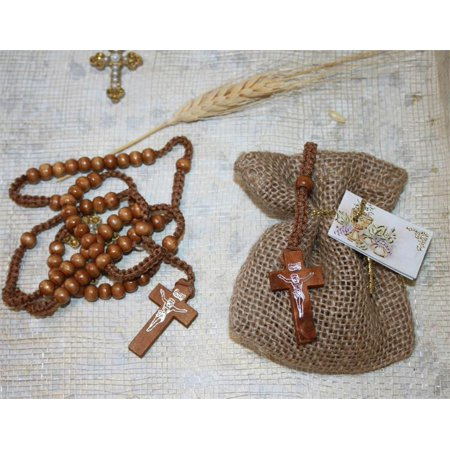 Natural Baptism Christening Favor of Wooden Rosary in a Burlap Bag with Baptism Italian Tag - Set of 10 Favors - Baptism Accessories