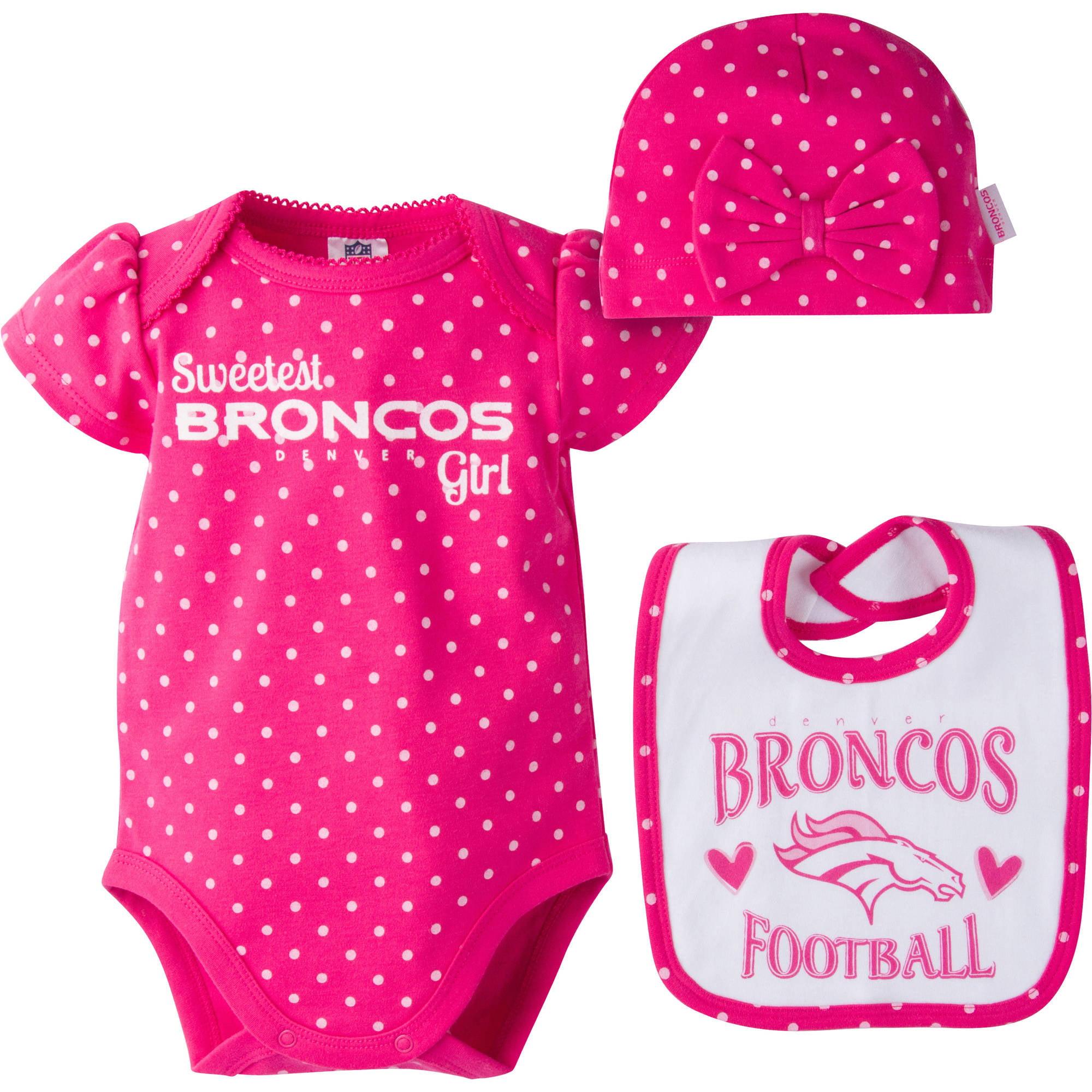 NFL Denver Broncos Baby Girls Bodysuit Bib and Cap Outfit