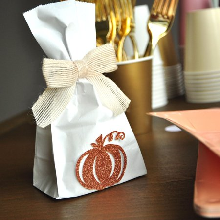 Mini Burlap Bags (Fall Baby Shower Favors. Little Pumpkin Baby Shower. Mini Rose Gold Pumpkin Favor Bags and Burlap Bows 10CT.)
