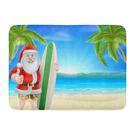 Sandals Rug (GODPOK Cartoon Santa Holding Surfboard and Giving Thumbs Up in His Board Shorts and Sandals on Beach with Palm Rug Doormat Bath Mat 23.6x15.7)