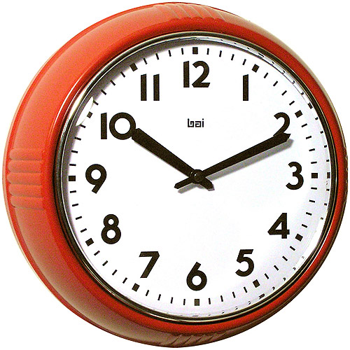 "Bai Retro Modern 10"" Round Wall Clock, Red"