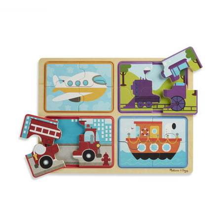 Melissa & Doug Natural Play Wooden Puzzle: Ready, Set, Go (Four 4-Piece Vehicle Puzzles, Great Gift for Girls and Boys – Best for 2, 3, and 4 Year