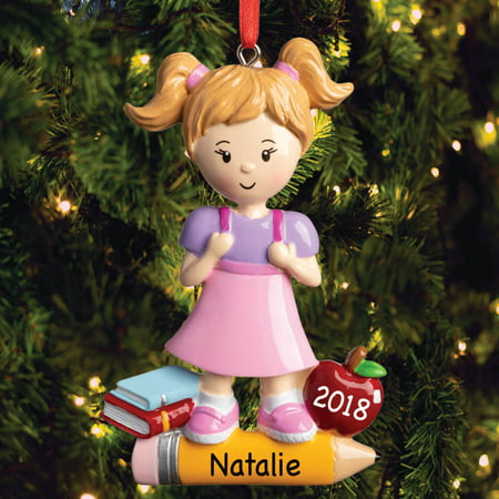 Personalized First Day Of School Girl Ornament - Girl First Day Of School