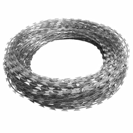 Galvanized Steel Garden Fence Clipped Concertina NATO Razor Wire Ribbon Barbed Wire Fencing 328' Length - Galvanized Steel Fencing