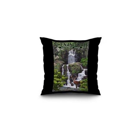 Shenandoah National Park  Virginia   Doyles River Falls   Lantern Press Artwork  16X16 Spun Polyester Pillow  Black Border