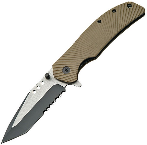 SZCO Supplies 300293-DS Assisted Opening Military Folding Knife, Tan Multi-Colored