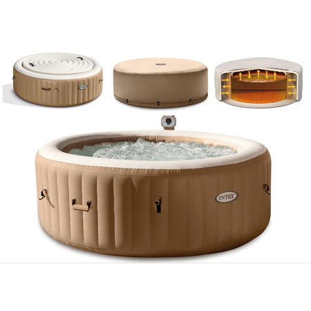 Intex 4 Person Hot Tub Spa with Energy Efficient Cover - Round Portable Inflatable PureSpa