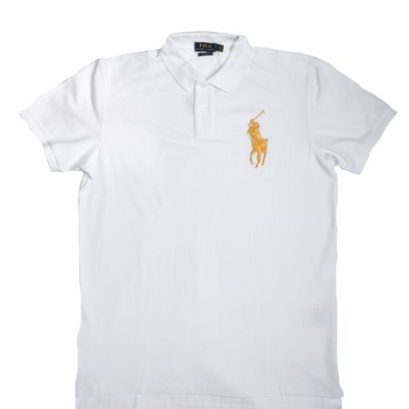 4c2d678663573 Ralph Lauren -  NWT - POLO RALPH LAUREN Men s WHITE   GOLD BIG PONY Custom  fit Polo Shirt (LIMITED EDITION) - Walmart.com
