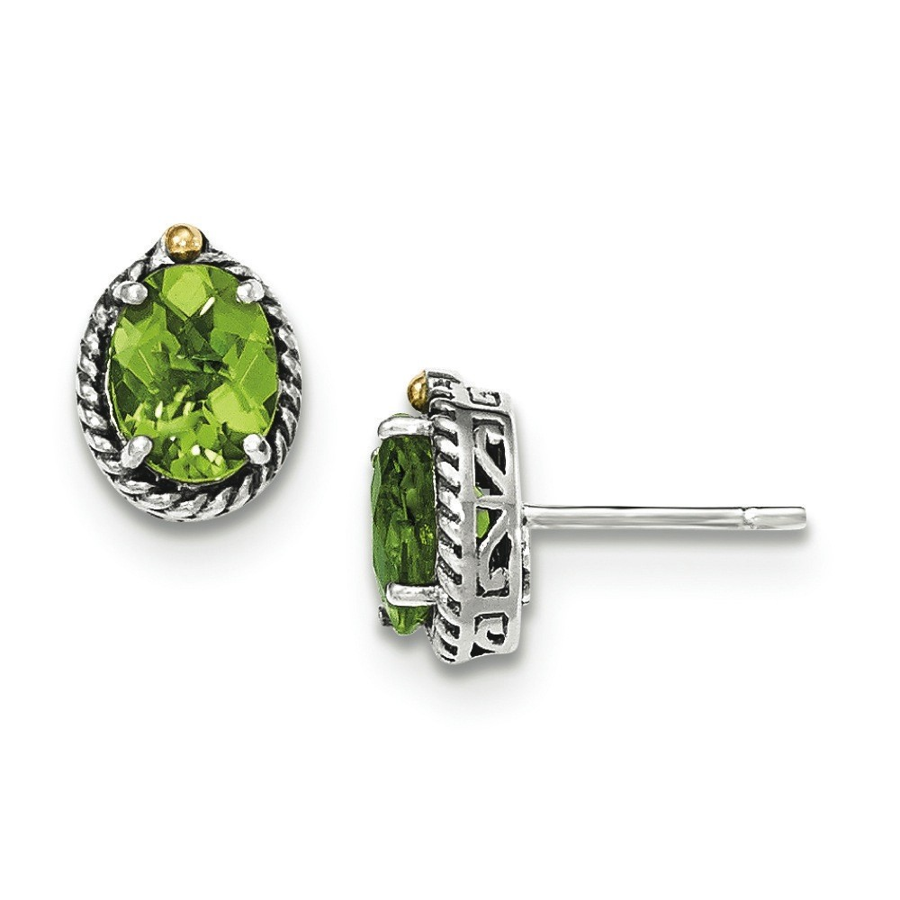 Sterling Silver With 14k Peridot Post Earrings - 2.70 cwt
