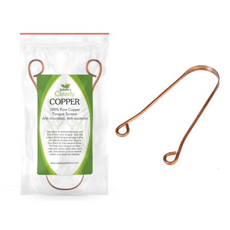Isabella's Clearly COPPER - Ayurvedic 100% Copper Tongue Scraper and Cleaner. Anti-Bacterial Anti-Microbial Bad Breath Treatment. (Ayurvedic Treatments)