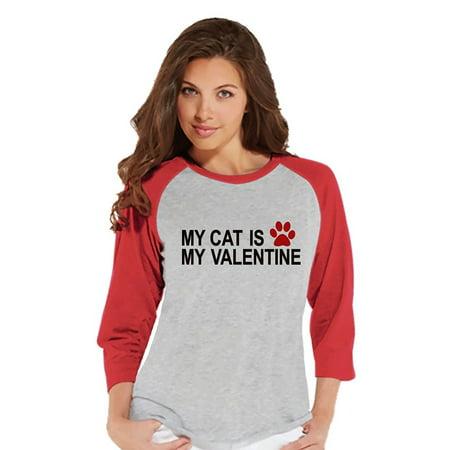 Custom For Women (Custom Party Shop Womens Cat Anti Valentine's Day Raglan Shirt -)