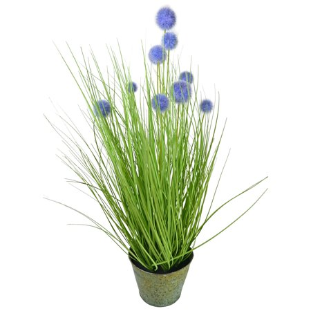 Metal Yard Flowers (27.5 in. Tall Artificial Reed Plant with Purple Pompom Flowers and Metal)