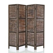 Legacy Decor 4 Panels Room Screen Divider Wicker and Wood Antique Brown