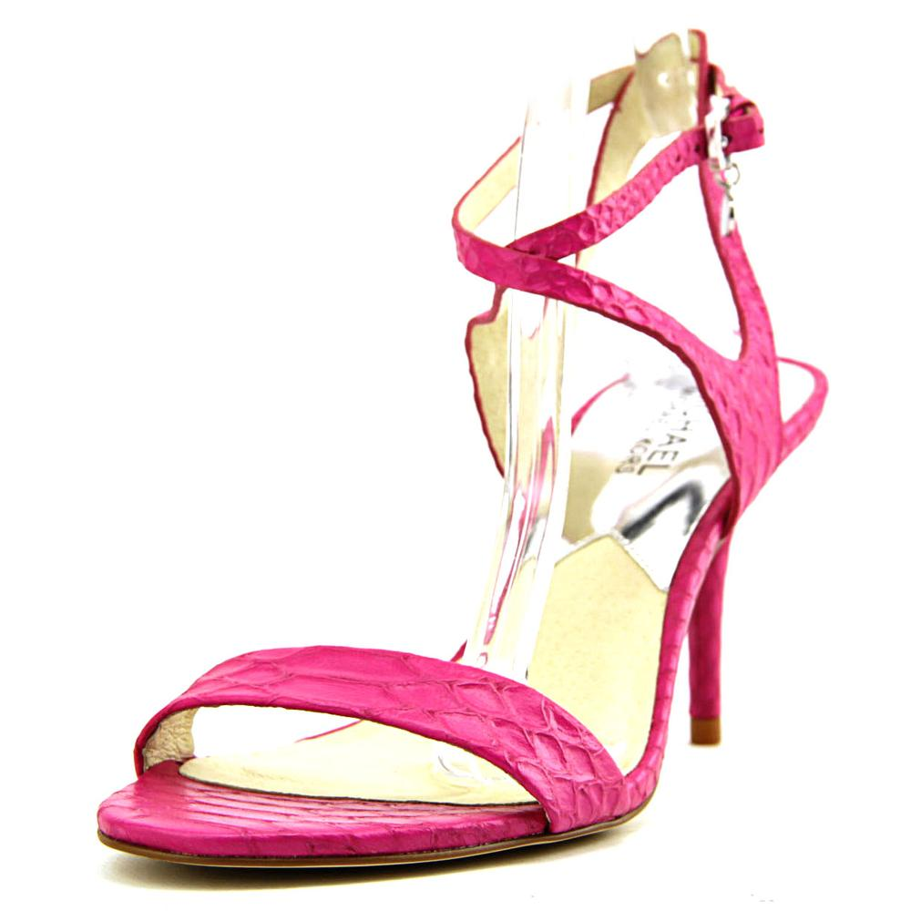 Michael Kors Kaylee Mid   Open Toe Leather  Sandals