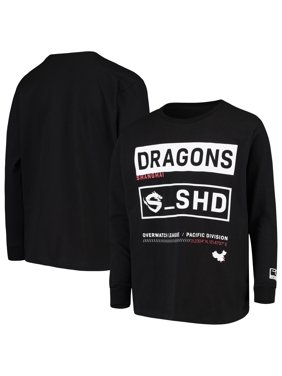 Shanghai Dragons Youth Overwatch League Double Down Long Sleeve T-Shirt - Black