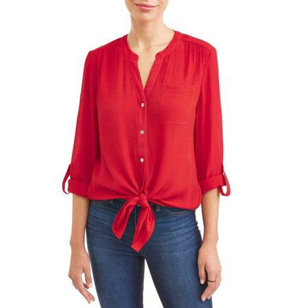 Fleur Button Front Shirt - Women's Tie Front Button Down Top